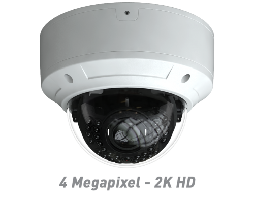 4 Megapixel - 2K HD IR Vandal Dome IP Camera with Motorized Optical Zoom & Autofocus