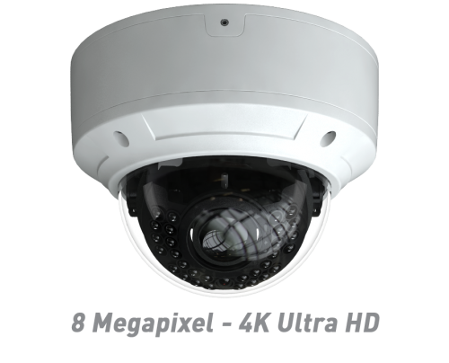 8 Megapixel - 4K Ultra HD IR Vandal Dome IP Camera with Motorized Optical Zoom & Autofocus