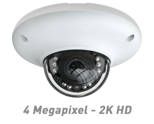 4 Megapixel - 2K HD IR Mini Dome IP Camera with 3.6mm Wide Angle Lens